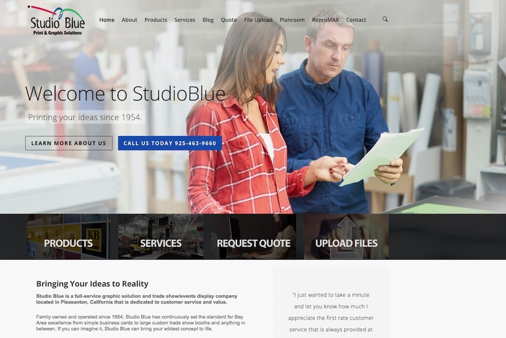 Studio Blue Gets a New Website